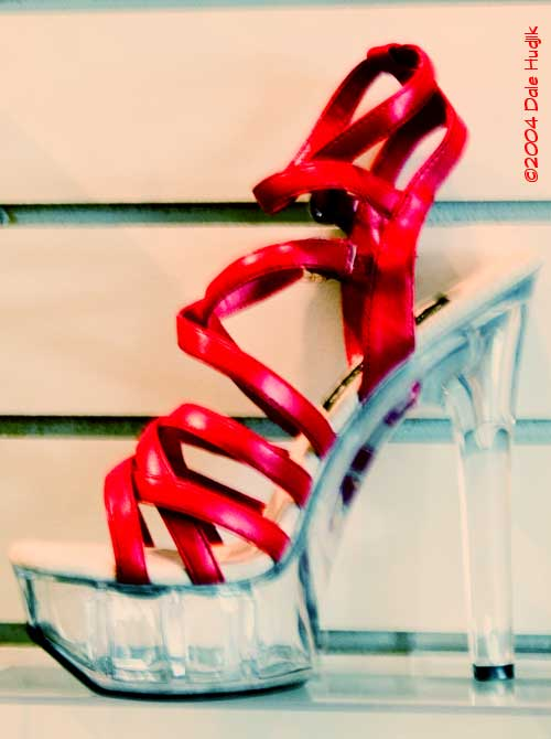 Bright red shoe