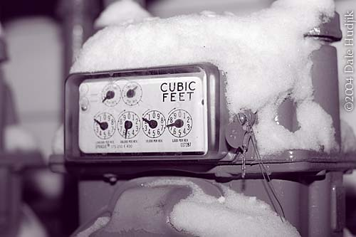 natural gas meter in snow