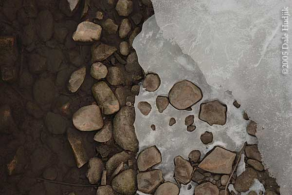 Frozen river stones