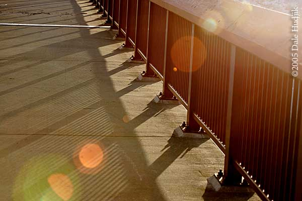 Morning light on footbridge