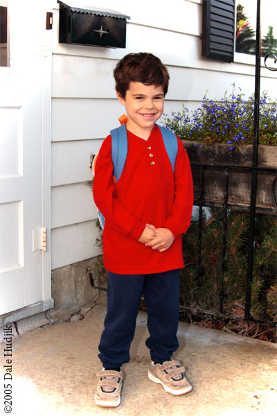 little boy going to kindergarten