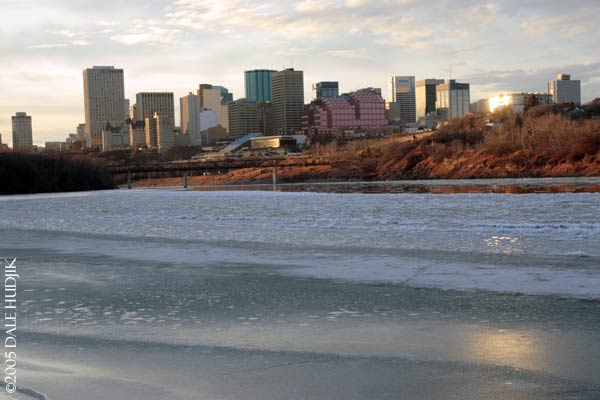 North Saskatchewan River just about Frozen Over