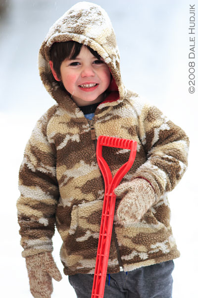 little boy with shovel